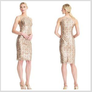 ADRIANNA PAPELL Champagne Sequin Sheath Midi Dress